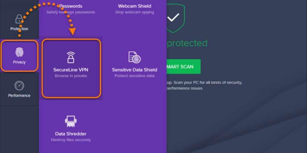 Avast Secureline features