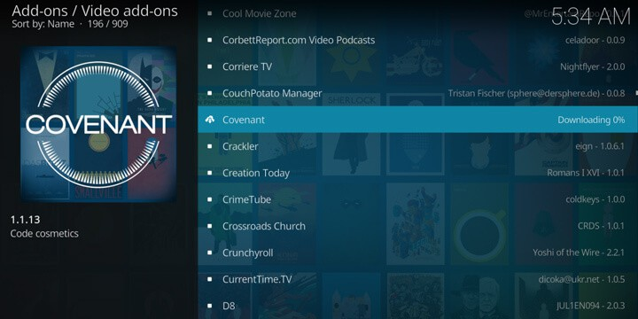 Installing Covenant on Kodi