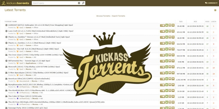 KickAsstorrents.To as YIFY Alternatives